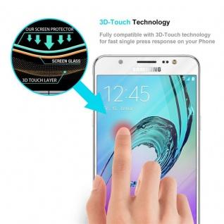 Cadorabo Vollbild Panzer Folie für Samsung Galaxy J5 2016 - Schutzfolie in TRANSPARENT mit WEISS - Gehärtetes (Tempered) Display-Schutzglas in 9H Härte mit 3D Touch Kompatibilität - Vorschau 5