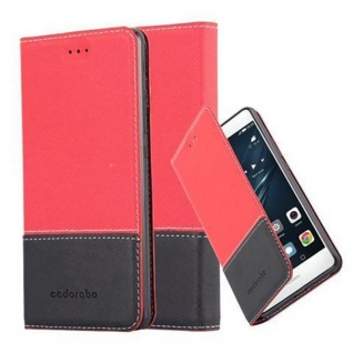 Cadorabo Hülle für Huawei P9 LITE in ROT SCHWARZ ? Handyhülle mit Magnetverschluss, Standfunktion und Kartenfach ? Case Cover Schutzhülle Etui Tasche Book Klapp Style