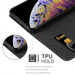 Cadorabo Hülle für Apple iPhone XS MAX in SCHWARZ BRAUN ? Handyhülle mit Magnetverschluss, Standfunktion und Kartenfach ? Case Cover Schutzhülle Etui Tasche Book Klapp Style