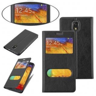 Cadorabo Hülle für Samsung Galaxy NOTE 3 in KOMETEN SCHWARZ ? Handyhülle mit Magnetverschluss, Standfunktion und 2 Sichtfenstern ? Case Cover Schutzhülle Etui Tasche Book Klapp Style - Vorschau 4