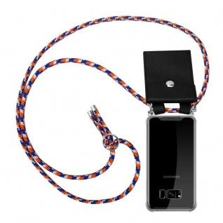 Cadorabo Handy Kette für Samsung Galaxy S8 PLUS in ORANGE BLAU WEISS - Silikon Necklace Umhänge Hülle mit Silber Ringen, Kordel Band Schnur und abnehmbarem Etui - Schutzhülle