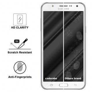 Cadorabo Vollbild Panzer Folie für Samsung Galaxy J7 2015 - Schutzfolie in TRANSPARENT mit WEISS - Gehärtetes (Tempered) Display-Schutzglas in 9H Härte mit 3D Touch Kompatibilität - Vorschau 3