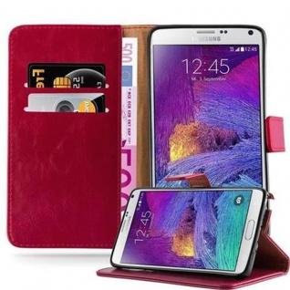 Cadorabo Hülle für Samsung Galaxy NOTE 4 in WEIN ROT Handyhülle mit Magnetverschluss, Standfunktion und Kartenfach Case Cover Schutzhülle Etui Tasche Book Klapp Style