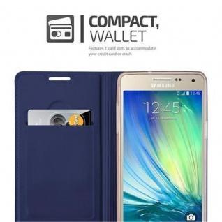 Cadorabo Hülle für Samsung Galaxy A5 2015 in CLASSY DUNKEL BLAU - Handyhülle mit Magnetverschluss, Standfunktion und Kartenfach - Case Cover Schutzhülle Etui Tasche Book Klapp Style - Vorschau 3