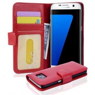 Cadorabo Hülle für Samsung Galaxy S7 EDGE in INFERNO ROT ? Handyhülle mit Magnetverschluss und 3 Kartenfächern ? Case Cover Schutzhülle Etui Tasche Book Klapp Style