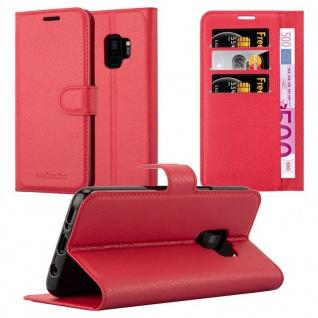 Cadorabo Hülle für Samsung Galaxy S9 in KARMIN ROT - Handyhülle mit Magnetverschluss, Standfunktion und Kartenfach - Case Cover Schutzhülle Etui Tasche Book Klapp Style