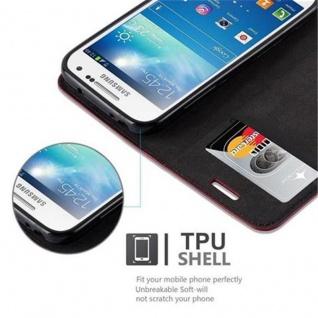Cadorabo Hülle für Samsung Galaxy S4 MINI in APFEL ROT - Handyhülle mit Magnetverschluss, Standfunktion und Kartenfach - Case Cover Schutzhülle Etui Tasche Book Klapp Style - Vorschau 4