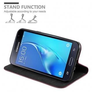 Cadorabo Hülle für Samsung Galaxy J3 / J3 DUOS 2016 in APFEL ROT - Handyhülle mit Magnetverschluss, Standfunktion und Kartenfach - Case Cover Schutzhülle Etui Tasche Book Klapp Style - Vorschau 4