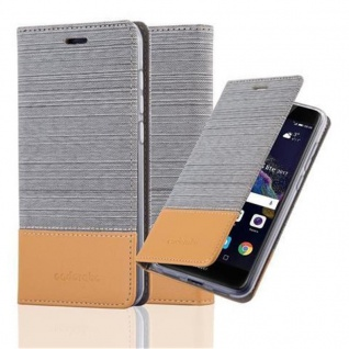 Cadorabo Hülle für Huawei P8 LITE 2017 in HELL GRAU BRAUN - Handyhülle mit Magnetverschluss, Standfunktion und Kartenfach - Case Cover Schutzhülle Etui Tasche Book Klapp Style