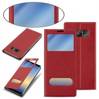 Cadorabo Hülle für Samsung Galaxy NOTE 8 in SAFRAN ROT - Handyhülle mit Magnetverschluss, Standfunktion und 2 Sichtfenstern - Case Cover Schutzhülle Etui Tasche Book Klapp Style - Vorschau 3