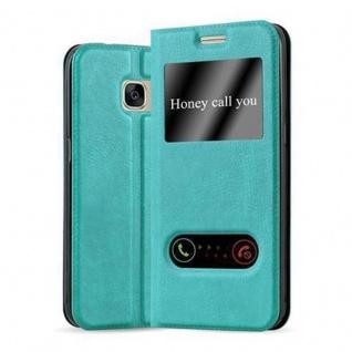 Cadorabo Hülle für Samsung Galaxy S7 in MINT TÜRKIS - Handyhülle mit Magnetverschluss, Standfunktion und 2 Sichtfenstern - Case Cover Schutzhülle Etui Tasche Book Klapp Style
