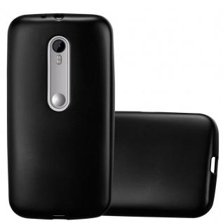 Cadorabo Hülle für Motorola MOTO G3 in METALLIC SCHWARZ - Handyhülle aus flexiblem TPU Silikon - Silikonhülle Schutzhülle Ultra Slim Soft Back Cover Case Bumper