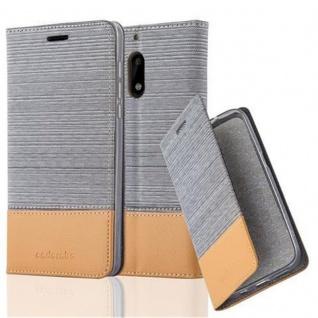 Cadorabo Hülle für Nokia 6 2017 in HELL GRAU BRAUN - Handyhülle mit Magnetverschluss, Standfunktion und Kartenfach - Case Cover Schutzhülle Etui Tasche Book Klapp Style