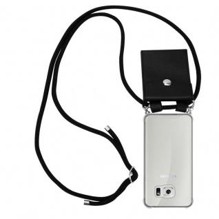 Cadorabo Handy Kette für Samsung Galaxy S6 in SCHWARZ - Silikon Necklace Umhänge Hülle mit Silber Ringen, Kordel Band Schnur und abnehmbarem Etui - Schutzhülle