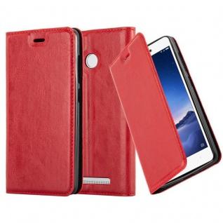 Cadorabo Hülle für Xiaomi Red Mi 3S in APFEL ROT - Handyhülle mit Magnetverschluss, Standfunktion und Kartenfach - Case Cover Schutzhülle Etui Tasche Book Klapp Style