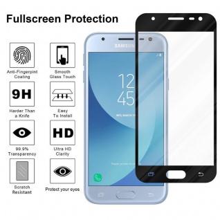 Cadorabo Vollbild Panzer Folie für Samsung Galaxy J3 PRO - Schutzfolie in TRANSPARENT mit SCHWARZ - Gehärtetes (Tempered) Display-Schutzglas in 9H Härte mit 3D Touch Kompatibilität - Vorschau 4