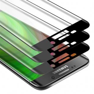 Cadorabo 3x Vollbild Panzer Folie für Samsung Galaxy S7 EDGE - Schutzfolie in TRANSPARENT mit SCHWARZ - 3er Pack Gehärtetes (Tempered) Display-Schutzglas in 9H Härte mit 3D Touch