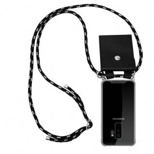 Cadorabo Handy Kette für Samsung Galaxy S9 PLUS in SCHWARZ SILBER Silikon Necklace Umhänge Hülle mit Silber Ringen, Kordel Band Schnur und abnehmbarem Etui Schutzhülle