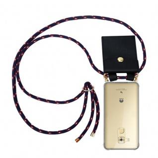 Cadorabo Handy Kette für Huawei NOVA PLUS in BLAU ROT WEISS GEPUNKTET - Silikon Necklace Umhänge Hülle mit Gold Ringen, Kordel Band Schnur und abnehmbarem Etui ? Schutzhülle