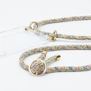 Cadorabo Handy Kette für ZTE Axon 7 in RAINBOW Silikon Necklace Umhänge Hülle mit Gold Ringen, Kordel Band Schnur und abnehmbarem Etui Schutzhülle - Vorschau 3