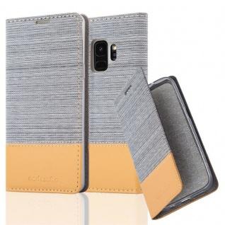 Cadorabo Hülle für Samsung Galaxy S9 in HELL GRAU BRAUN - Handyhülle mit Magnetverschluss, Standfunktion und Kartenfach - Case Cover Schutzhülle Etui Tasche Book Klapp Style