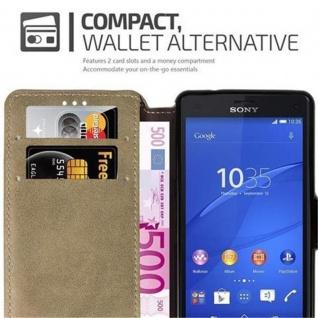 Cadorabo Hülle für Sony Xperia Z3 COMPACT - Hülle in MATT SAND BRAUN - Handyhülle mit Standfunktion und Kartenfach im Retro Design - Case Cover Schutzhülle Etui Tasche Book Klapp Style