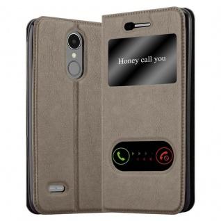 Cadorabo Hülle für LG K8 2017 in STEIN BRAUN ? Handyhülle mit Magnetverschluss, Standfunktion und 2 Sichtfenstern ? Case Cover Schutzhülle Etui Tasche Book Klapp Style