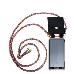 Cadorabo Handy Kette für Huawei P9 PLUS in COLORFUL PARROT Silikon Necklace Umhänge Hülle mit Gold Ringen, Kordel Band Schnur und abnehmbarem Etui Schutzhülle
