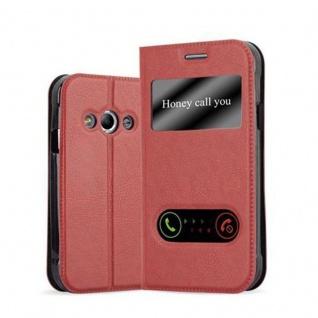 Cadorabo Hülle für Samsung Galaxy XCOVER 3 in SAFRAN ROT ? Handyhülle mit Magnetverschluss, Standfunktion und 2 Sichtfenstern ? Case Cover Schutzhülle Etui Tasche Book Klapp Style