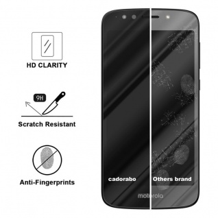 Cadorabo Vollbild Panzer Folie für Motorola MOTO E5 PLAY - Schutzfolie in TRANSPARENT mit SCHWARZ - Gehärtetes (Tempered) Display-Schutzglas in 9H Härte mit 3D Touch Kompatibilität - Vorschau 3