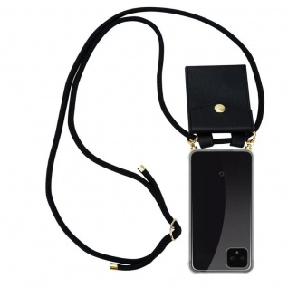 Cadorabo Handy Kette für Google Pixel 4 XL in SCHWARZ - Silikon Necklace Umhänge Hülle mit Gold Ringen, Kordel Band Schnur und abnehmbarem Etui ? Schutzhülle