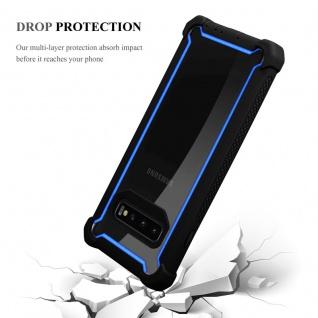 Cadorabo Hülle für Samsung Galaxy S10 PLUS in BLAU SCHWARZ - 2-in-1 Handyhülle mit TPU Silikon-Rand und Acryl-Glas-Rücken - Schutzhülle Hybrid Hardcase Back Case - Vorschau 5