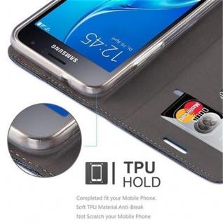 Cadorabo Hülle für Samsung Galaxy J1 2016 in DUNKEL BLAU SCHWARZ - Handyhülle mit Magnetverschluss, Standfunktion und Kartenfach - Case Cover Schutzhülle Etui Tasche Book Klapp Style - Vorschau 3