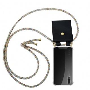 Cadorabo Handy Kette für Huawei P20 in RAINBOW - Silikon Necklace Umhänge Hülle mit Gold Ringen, Kordel Band Schnur und abnehmbarem Etui ? Schutzhülle