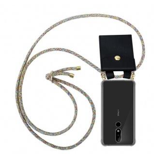 Cadorabo Handy Kette für Nokia 5.1 Plus in RAINBOW - Silikon Necklace Umhänge Hülle mit Gold Ringen, Kordel Band Schnur und abnehmbarem Etui ? Schutzhülle