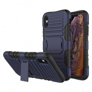 Cadorabo Hülle für Apple iPhone X / XS in DUNKEL BLAU ? Handyhülle mit Standfunktion - Hard Case TPU Silikon Schutzhülle für Hybrid Cover im Outdoor Heavy Duty Design