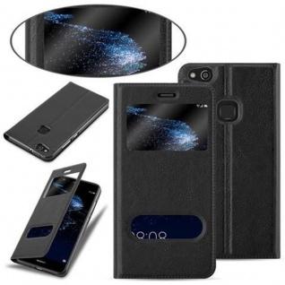 Cadorabo Hülle für Huawei P10 LITE in KOMETEN SCHWARZ ? Handyhülle mit Magnetverschluss, Standfunktion und 2 Sichtfenstern ? Case Cover Schutzhülle Etui Tasche Book Klapp Style - Vorschau 4