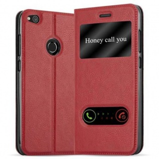 Cadorabo Hülle für Huawei P8 LITE 2017 in SAFRAN ROT - Handyhülle mit Magnetverschluss, Standfunktion und 2 Sichtfenstern - Case Cover Schutzhülle Etui Tasche Book Klapp Style