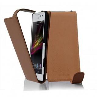 Cadorabo Hülle für Sony Xperia C in KAKAO BRAUN - Handyhülle im Flip Design aus glattem Kunstleder - Case Cover Schutzhülle Etui Tasche Book Klapp Style