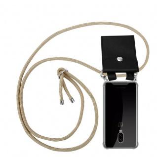 Cadorabo Handy Kette für OnePlus 6T in GLÄNZEND BRAUN - Silikon Necklace Umhänge Hülle mit Silber Ringen, Kordel Band Schnur und abnehmbarem Etui - Schutzhülle