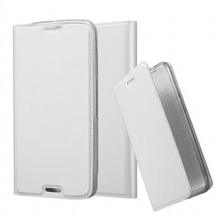 Cadorabo Hülle für Motorola NEXUS 6 in CLASSY SILBER - Handyhülle mit Magnetverschluss, Standfunktion und Kartenfach - Case Cover Schutzhülle Etui Tasche Book Klapp Style