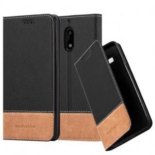 Cadorabo Hülle für Nokia 6 2017 in SCHWARZ BRAUN Handyhülle mit Magnetverschluss, Standfunktion und Kartenfach Case Cover Schutzhülle Etui Tasche Book Klapp Style