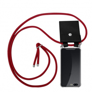 Cadorabo Handy Kette für OnePlus 5 in RUBIN ROT - Silikon Necklace Umhänge Hülle mit Silber Ringen, Kordel Band Schnur und abnehmbarem Etui - Schutzhülle