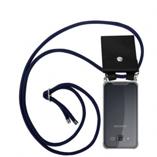 Cadorabo Handy Kette für Samsung Galaxy J5 2015 in TIEF BLAU Silikon Necklace Umhänge Hülle mit Silber Ringen, Kordel Band Schnur und abnehmbarem Etui Schutzhülle