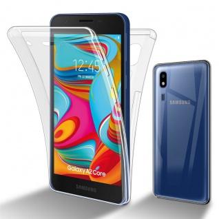 Cadorabo Hülle kompatibel mit Samsung Galaxy A02 CORE in TRANSPARENT - 360° Full Body Handyhülle Front und Rückenschutz Rundumschutz Schutzhülle mit Displayschutz