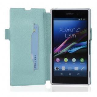 Cadorabo Hülle für Sony Xperia Z1 - Hülle in ICY BLAU ? Handyhülle mit Standfunktion und Kartenfach im Ultra Slim Design - Case Cover Schutzhülle Etui Tasche Book