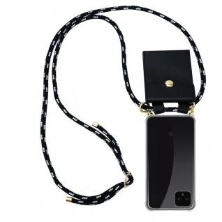 Cadorabo Handy Kette für Google Pixel 4 XL in SCHWARZ SILBER Silikon Necklace Umhänge Hülle mit Gold Ringen, Kordel Band Schnur und abnehmbarem Etui Schutzhülle