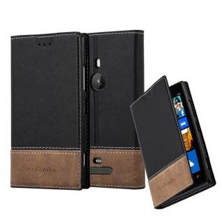 Cadorabo Hülle für Nokia Lumia 925 in SCHWARZ BRAUN ? Handyhülle mit Magnetverschluss, Standfunktion und Kartenfach ? Case Cover Schutzhülle Etui Tasche Book Klapp Style