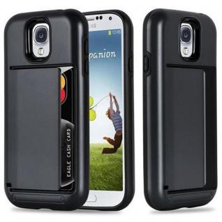 Cadorabo Hülle für Samsung Galaxy S4 - Hülle in ARMOR SCHWARZ ? Handyhülle mit Kartenfach - Hard Case TPU Silikon Schutzhülle für Hybrid Cover im Outdoor Heavy Duty Design