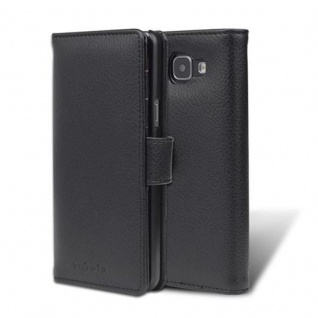 Cadorabo Hülle für Samsung Galaxy A5 2016 in OXID SCHWARZ - Handyhülle mit Magnetverschluss und 3 Kartenfächern - Case Cover Schutzhülle Etui Tasche Book Klapp Style